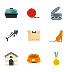Cat house icons set cartoon style vector