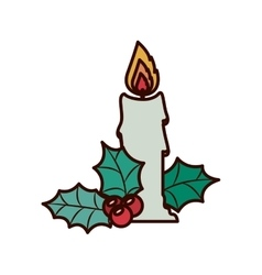 Christmas candle with ornament leaves vector