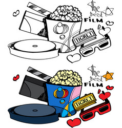 cinema love popcorn and ticket vector image