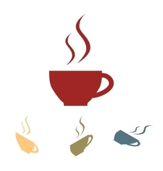 Cup of coffee icon set Isometric effect vector image