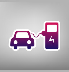 Electric car battery charging sign purple vector