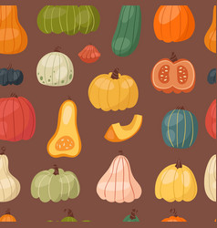 fresh pumpkin seamless pattern background seasonal vector image
