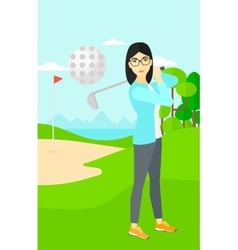 Golf player hitting the ball vector