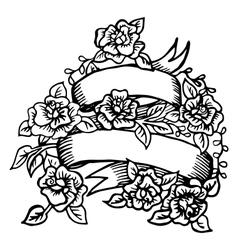 Hand-drawn ribbon with roses vector image vector image