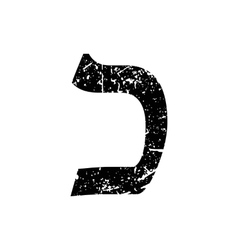 Hebrew letter Kaf Shabby black font The Hebrew vector image vector image