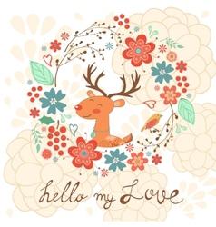 Hello my love card with deer vector