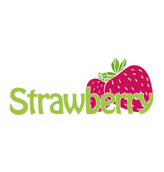 Horizontal trendy strawberry logo vector