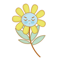 Kawaii angry flower plant with close eyes vector