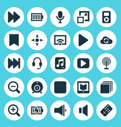 Media icons set collection of bullhorn arrow vector