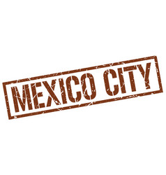 Mexico city brown square stamp vector