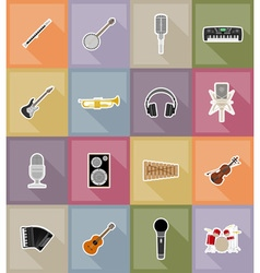music items and equipment flat icons 18 vector image vector image