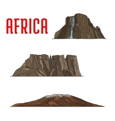Natural travel landmarks of Africa icon thin line vector image vector image