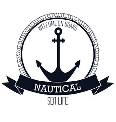 nautical frame with anchor vector image