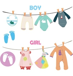 New baby boy and girl set for baby shower vector image