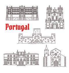 Portugal architecture landmarks buildings vector