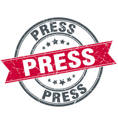 Press round grunge ribbon stamp vector