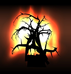 Spooky monster creature tree in flames vector image vector image