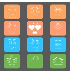 Square Emoticons with White Contour vector image