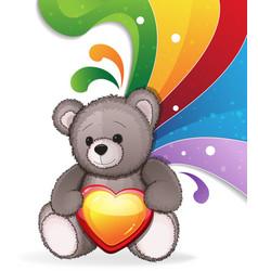 teddy bear with heart vector image vector image