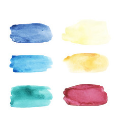 Watercolor brushstrokes set hand drawn vector
