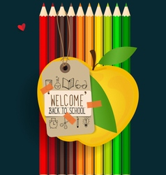 Welcome back to school with paper note and color vector image