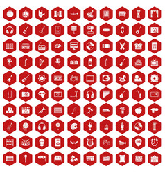 100 musical education icons hexagon red vector