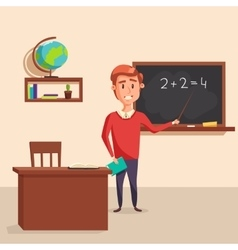 Mathematics teacher with pointer in blackboard vector