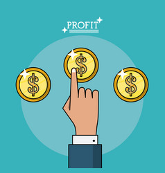 Colorful poster of profit with hand and coins vector