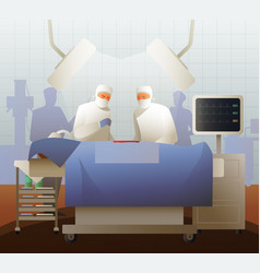 Surgeons during operation flat composition vector
