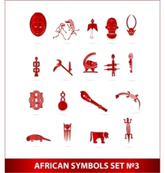 African symbols set red color isolated vector
