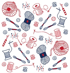 Colorful sewing doodle hand drawn vector