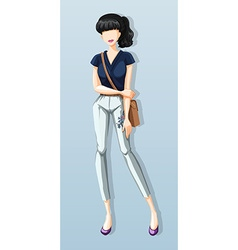 Woman wearing shirt and pants vector