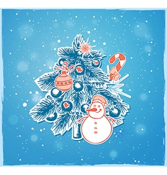 Christmas tree and snowman vector
