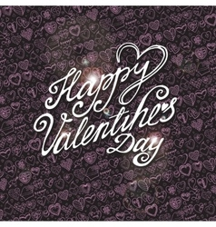 Happy valentines day card with pink heart pattern vector