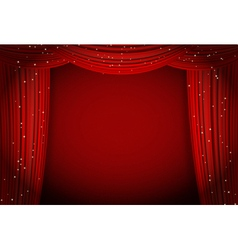 red curtains on red background vector image