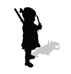 Child holding sword silhouette vector