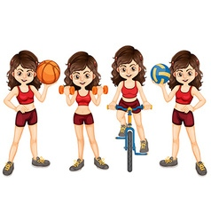 Woman athlete doing different sports vector