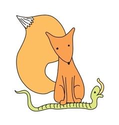cartoon little fox with speech bubble vector image