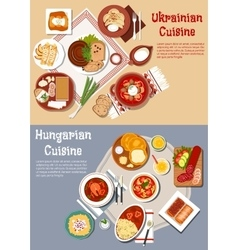 Hearty ukrainian and hungarian dinners flat icon vector