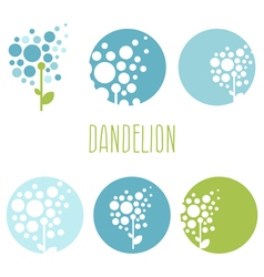 Set of concept abstract logo dandelions vector