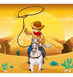 A white horse with a cowboy vector image