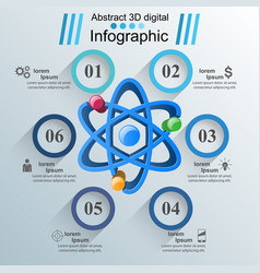 Abstract 3d infographic atom sience icon vector