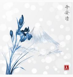 Blue iris flowers and fujiyama mountains hand vector