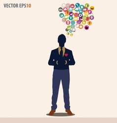 Businessman with cloud of colorful application vector image vector image