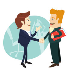 businessmen handshaking and making a deal in vector image