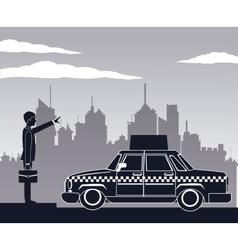 Cab car passenger user service public pictograh vector