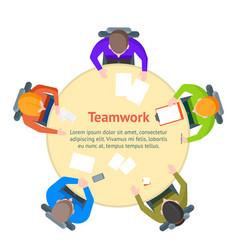 cartoon team meeting table card poster vector image