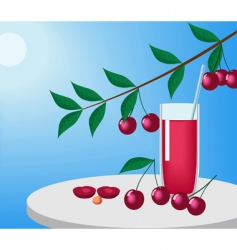 cherries and juice vector image vector image