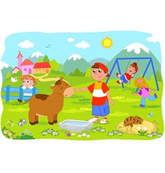 Children holidays at the mountains vector image vector image