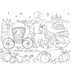 cinderella fairy tale coloring book for children vector image vector image